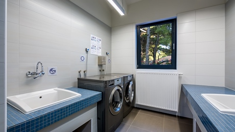 Washing area in new sanitary facility in camping Čikat